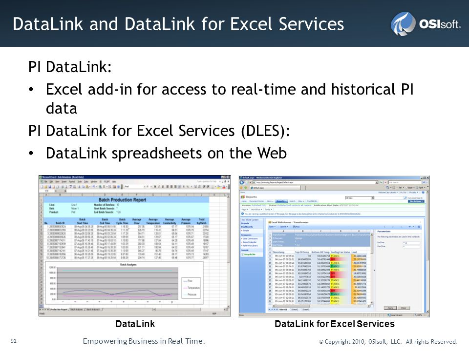 DataLink and DataLink for Excel Services