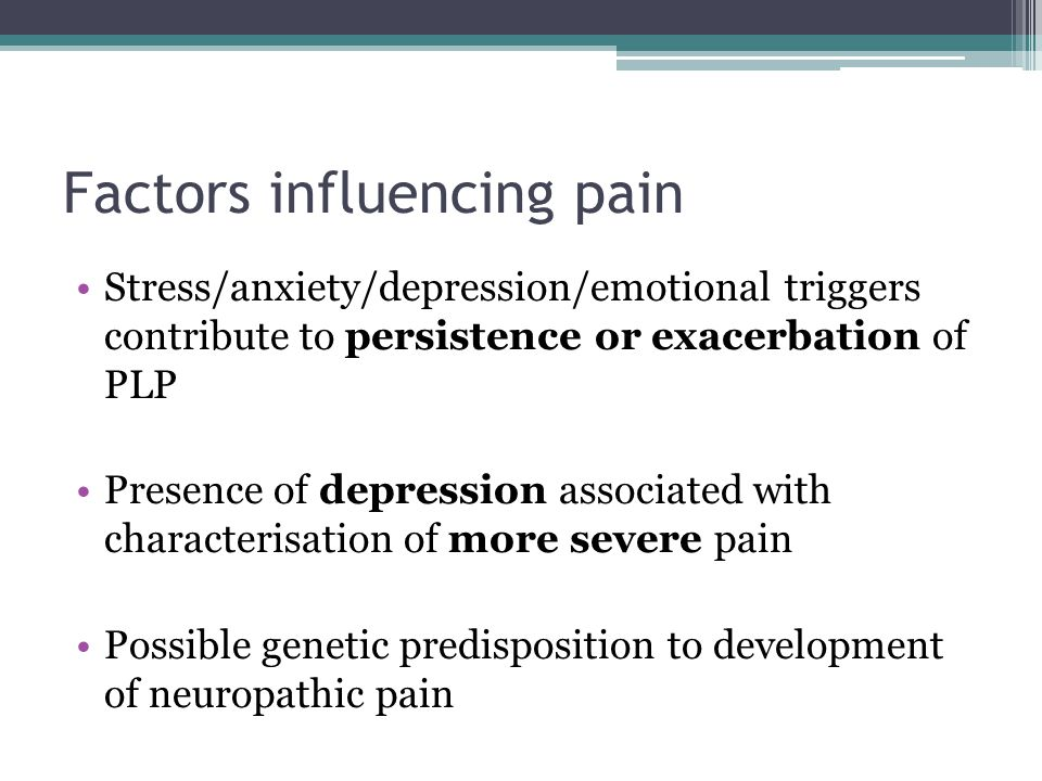 Factors influencing pain