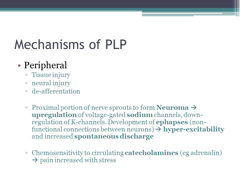 Mechanisms of PLP Peripheral Tissue injury neural injury