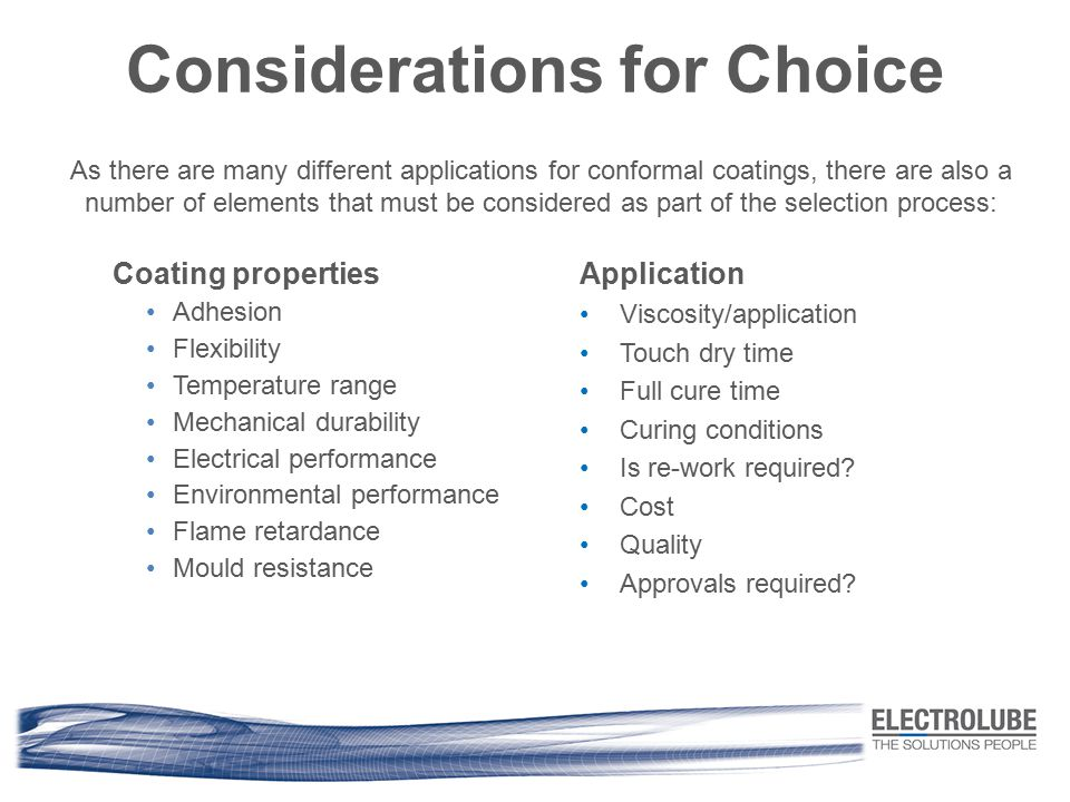 Considerations for Choice
