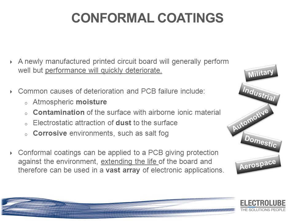CONFORMAL COATINGS A newly manufactured printed circuit board will generally perform well but performance will quickly deteriorate.