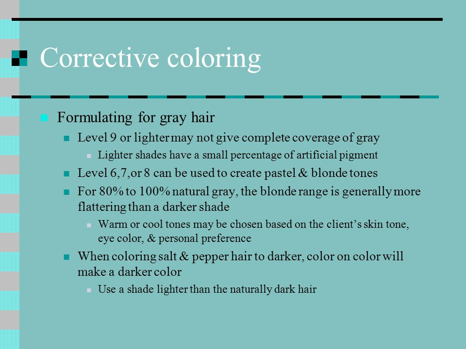 Corrective coloring Formulating for gray hair