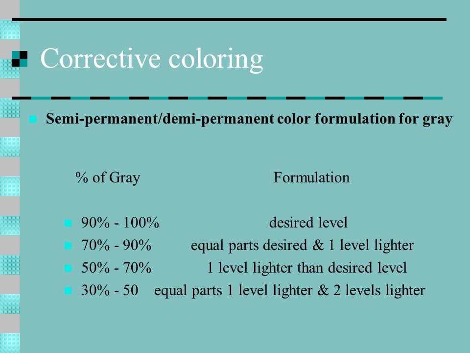 Corrective coloring Semi-permanent/demi-permanent color formulation for gray. % of Gray Formulation.