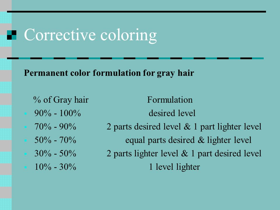 Corrective coloring Permanent color formulation for gray hair