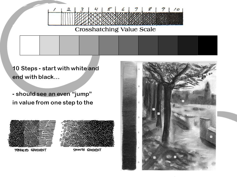 1 - Create a VALUE SCALE 10 Steps - start with white and. end with black… should see an even jump