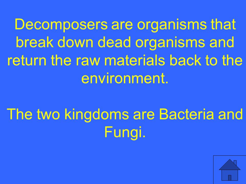 Decomposers are organisms that break down dead organisms and return the raw materials back to the environment.