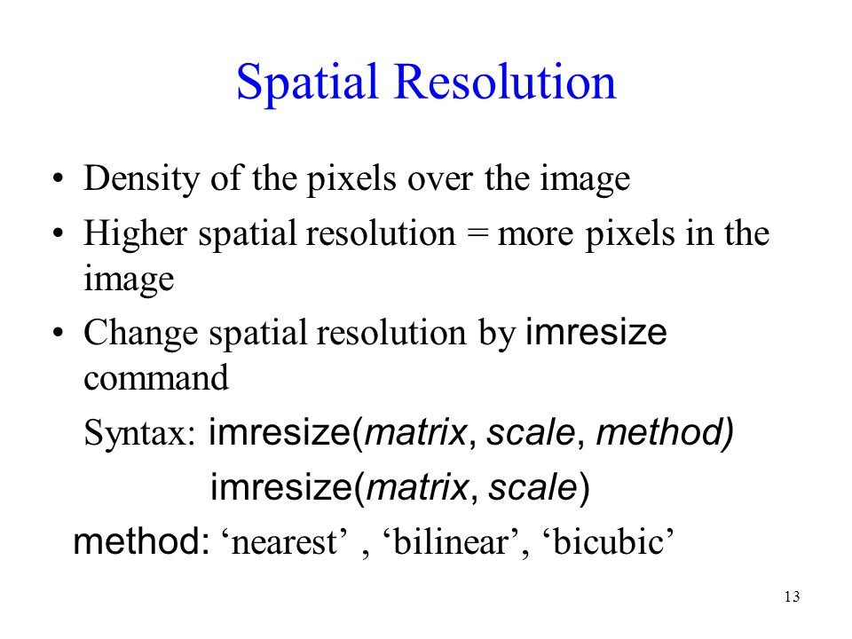 Spatial Resolution Density of the pixels over the image