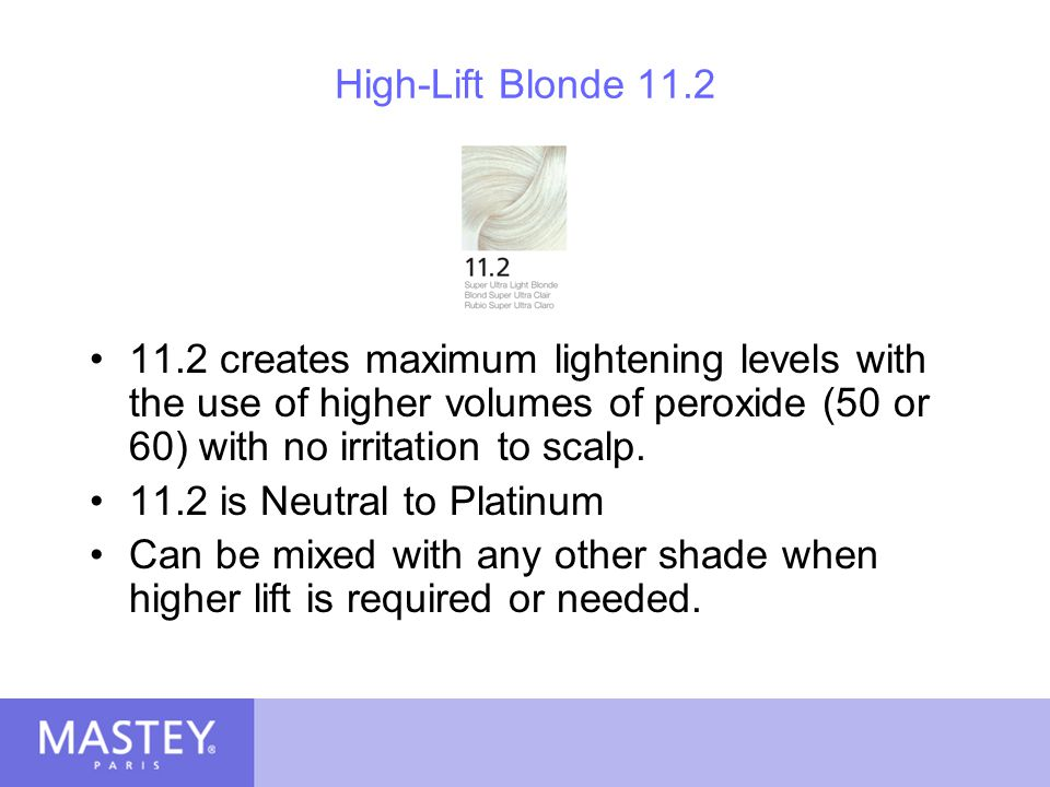 High-Lift Blonde 11.2 11.2 creates maximum lightening levels with the use of higher volumes of peroxide (50 or 60) with no irritation to scalp.