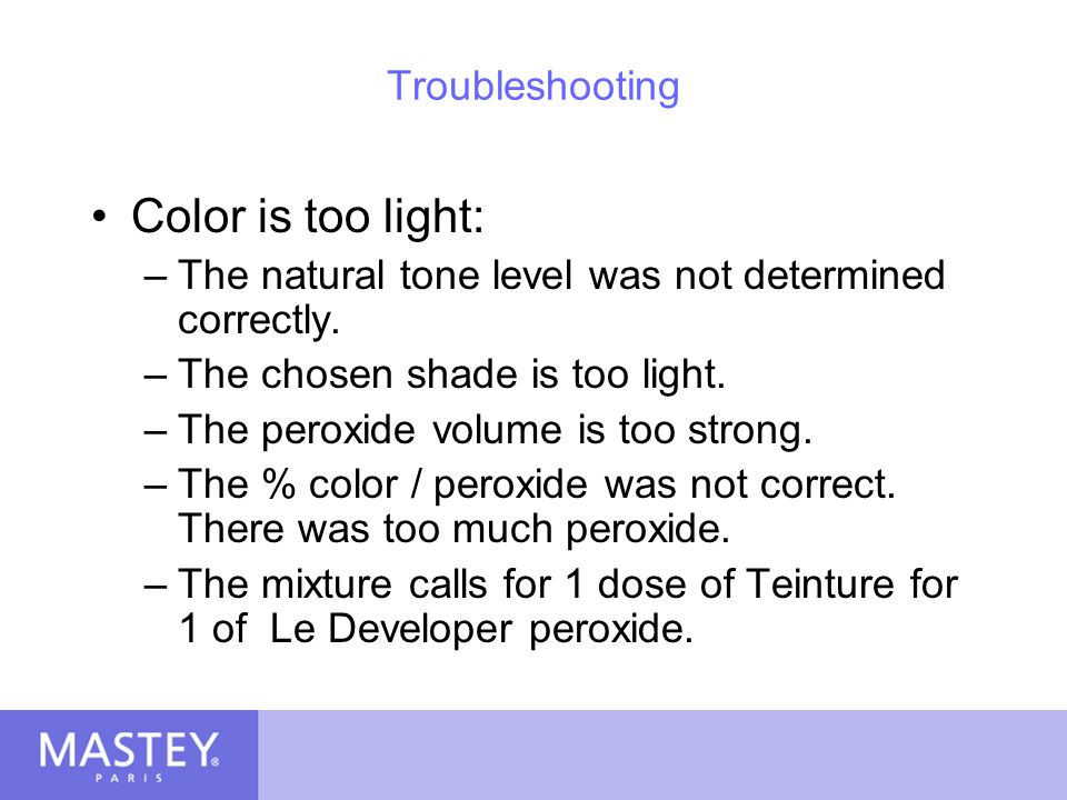 Color is too light: Troubleshooting