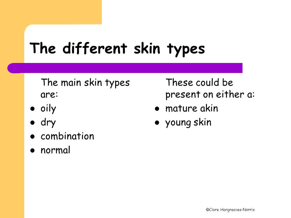 The different skin types