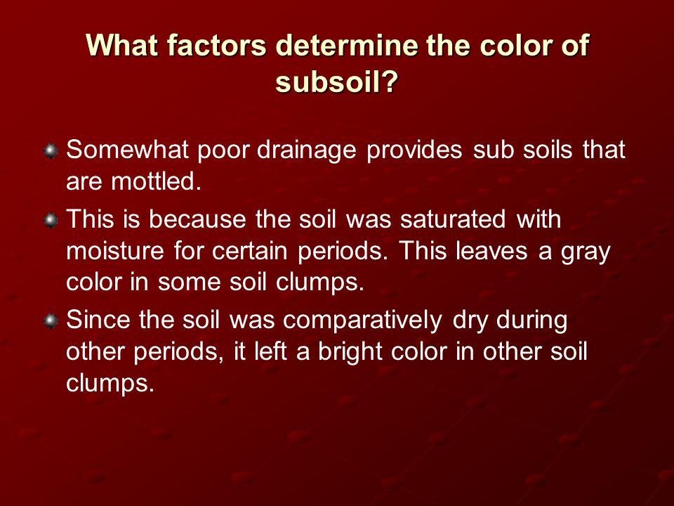 What factors determine the color of subsoil