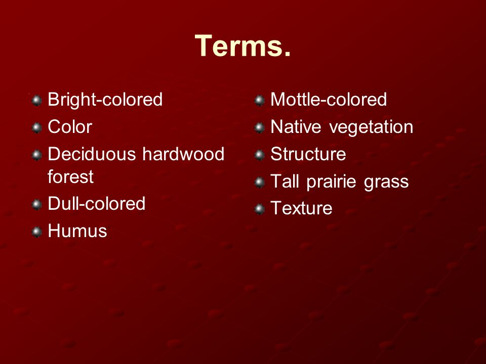 Terms. Bright-colored Color Deciduous hardwood forest Dull-colored