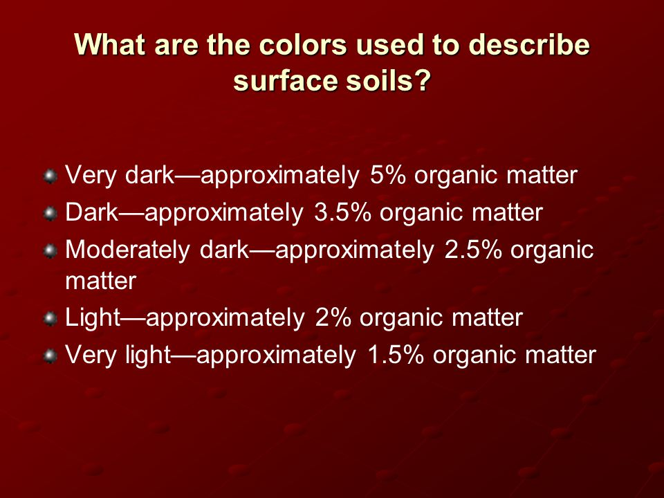 What are the colors used to describe surface soils