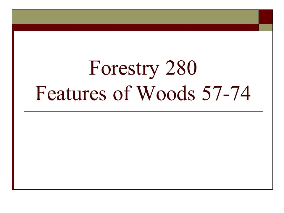 Forestry 280 Features of Woods 57-74