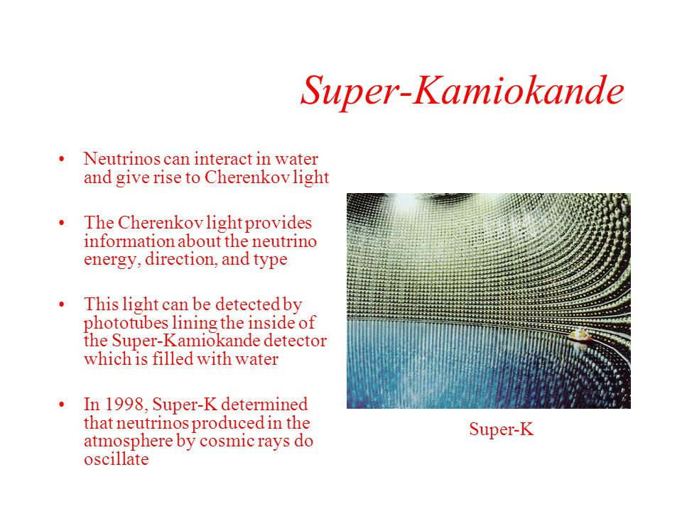 Super-Kamiokande Neutrinos can interact in water and give rise to Cherenkov light.