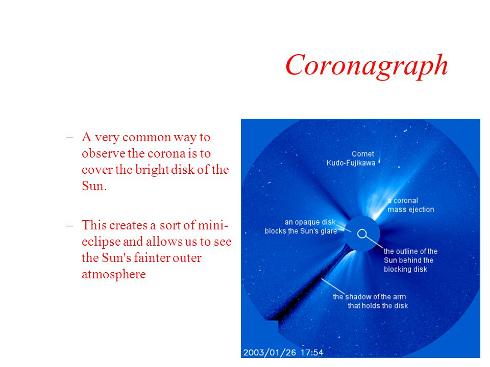 Coronagraph A very common way to observe the corona is to cover the bright disk of the Sun.