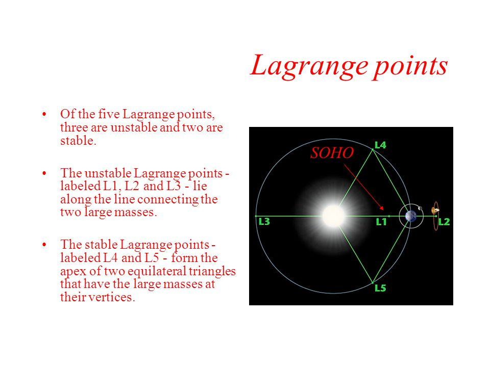 Lagrange points Of the five Lagrange points, three are unstable and two are stable.
