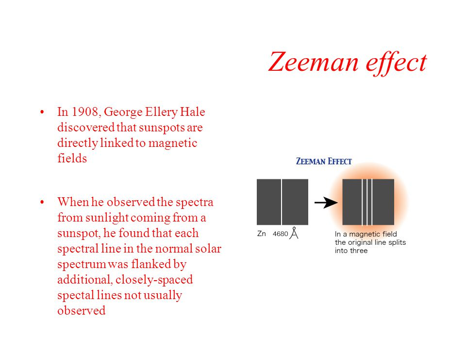 Zeeman effect In 1908, George Ellery Hale discovered that sunspots are directly linked to magnetic fields.