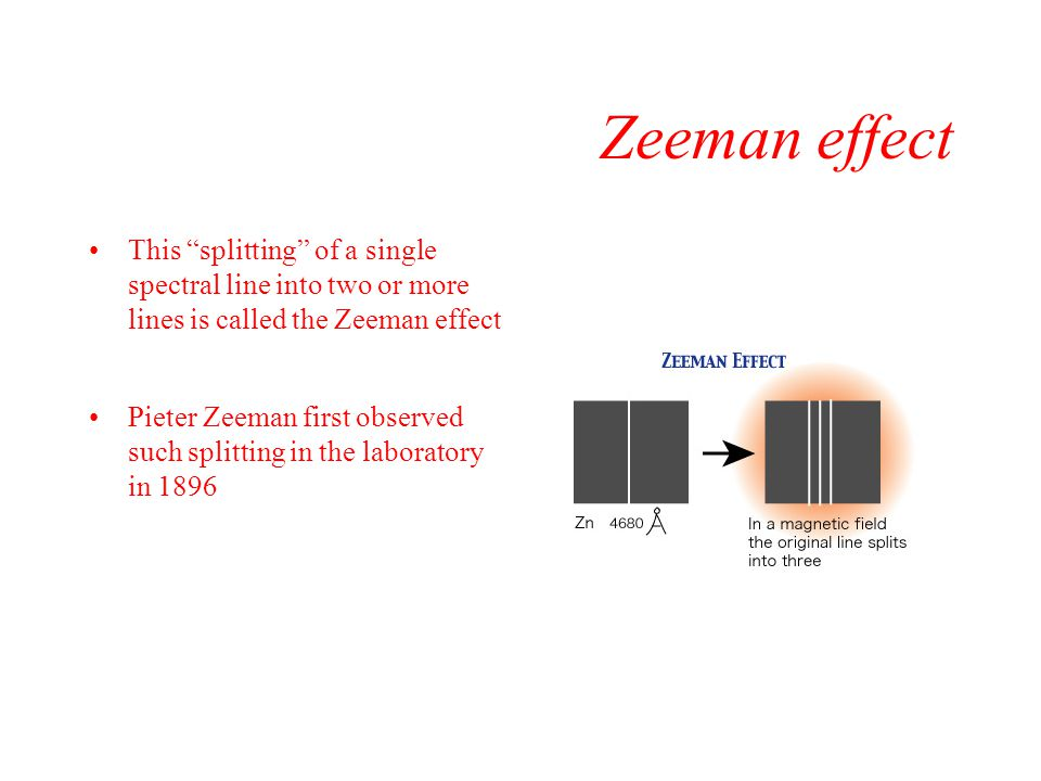 Zeeman effect This splitting of a single spectral line into two or more lines is called the Zeeman effect.