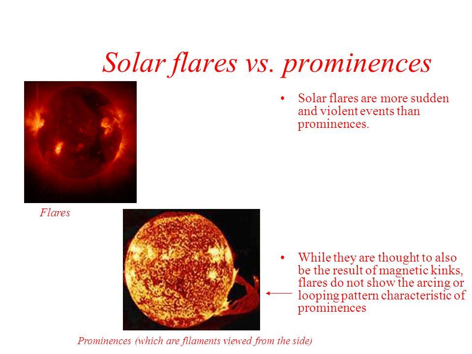 Solar flares vs. prominences