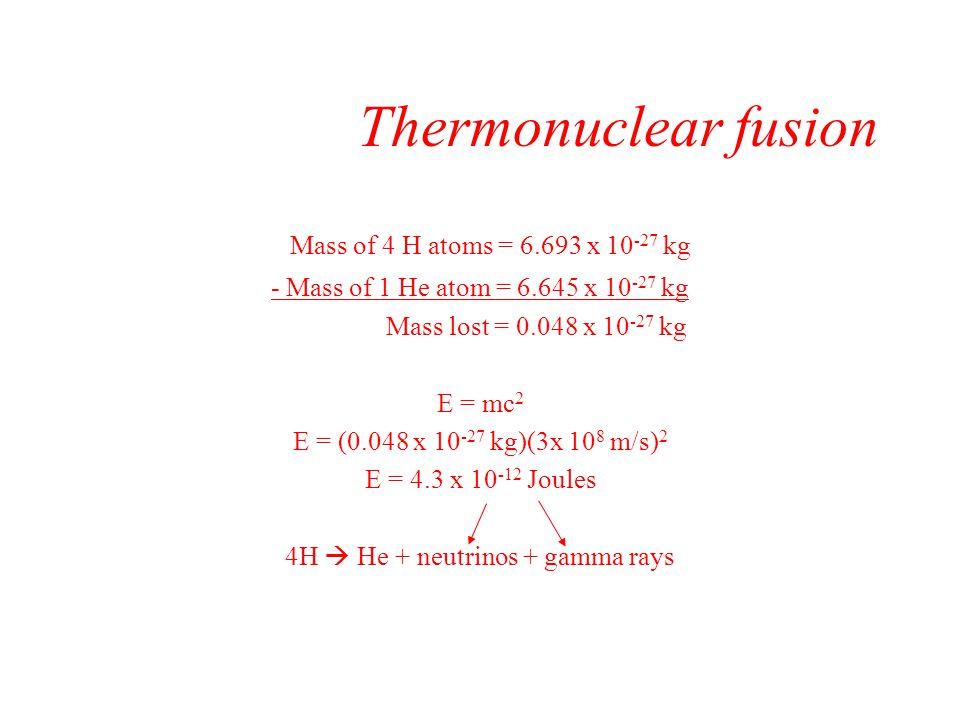 4H  He + neutrinos + gamma rays