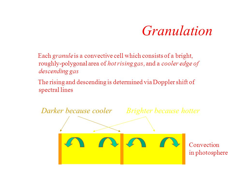 Granulation Darker because cooler Brighter because hotter