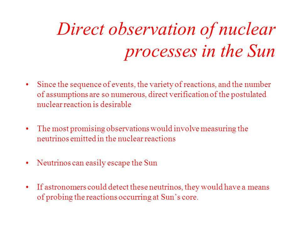 Direct observation of nuclear processes in the Sun