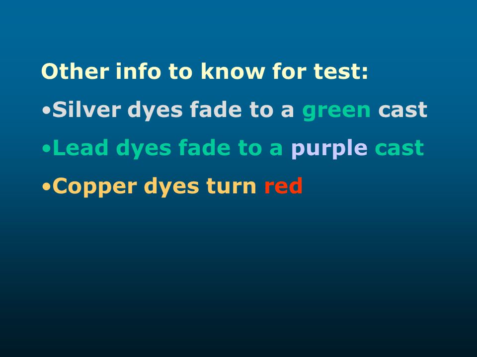 Other info to know for test: