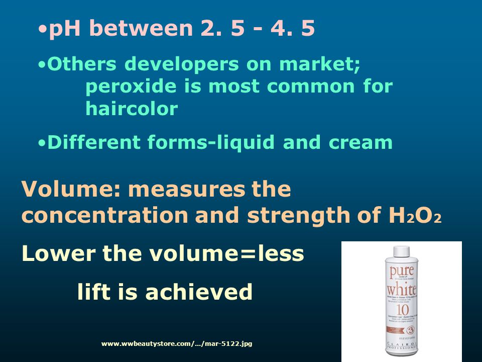 Volume: measures the concentration and strength of H2O2
