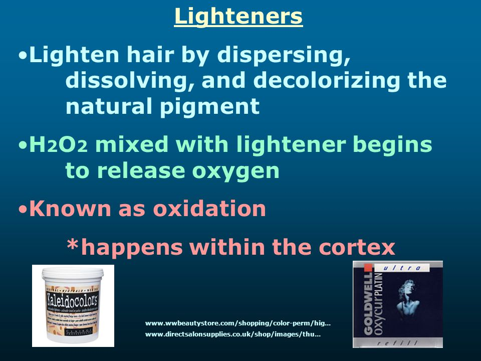 H2O2 mixed with lightener begins to release oxygen