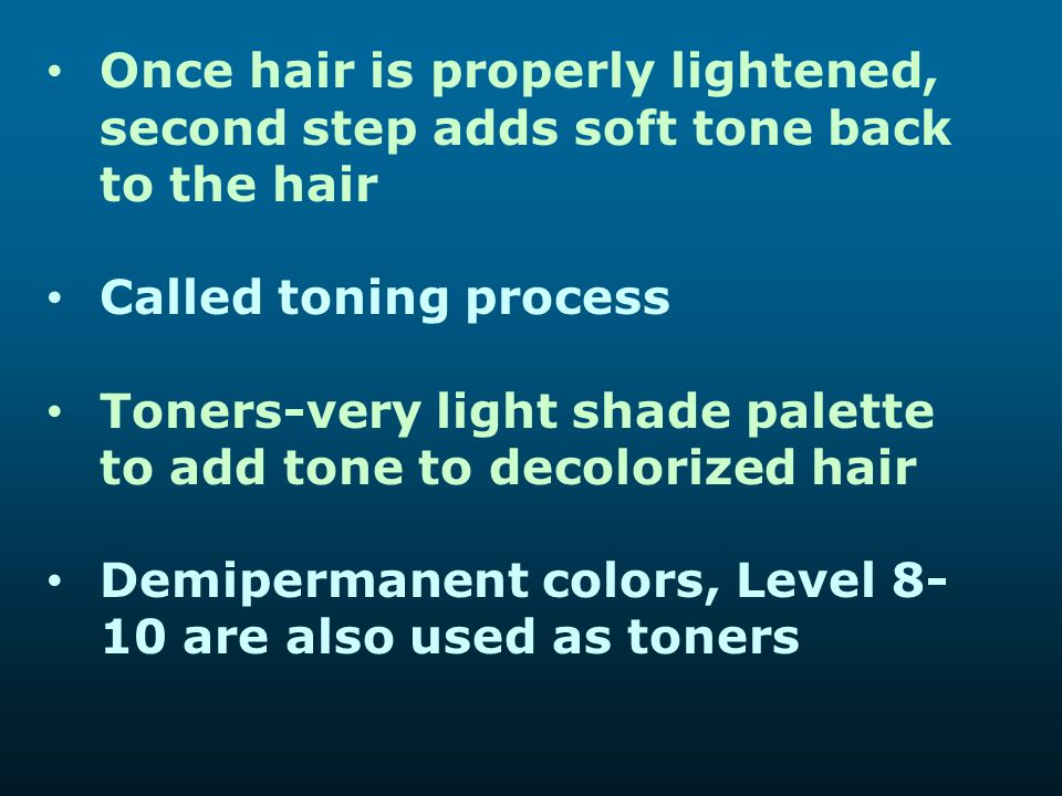 Once hair is properly lightened, second step adds soft tone back to the hair
