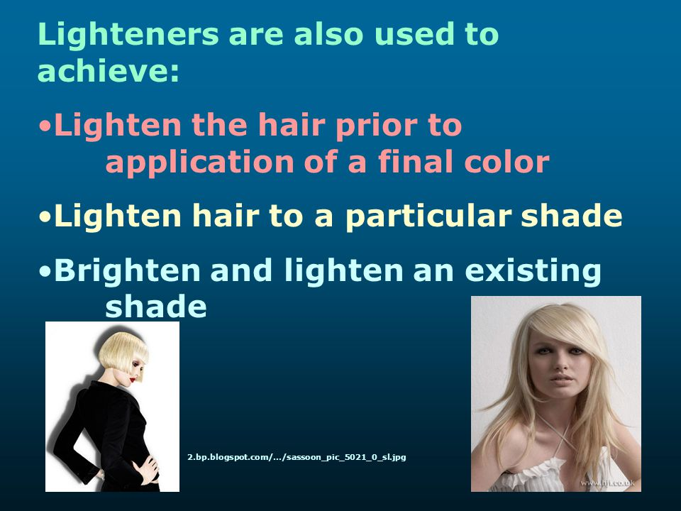 Lighteners are also used to achieve: