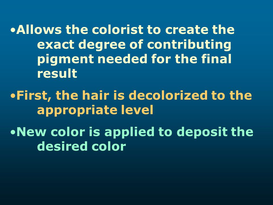Allows the colorist to create the. exact degree of contributing