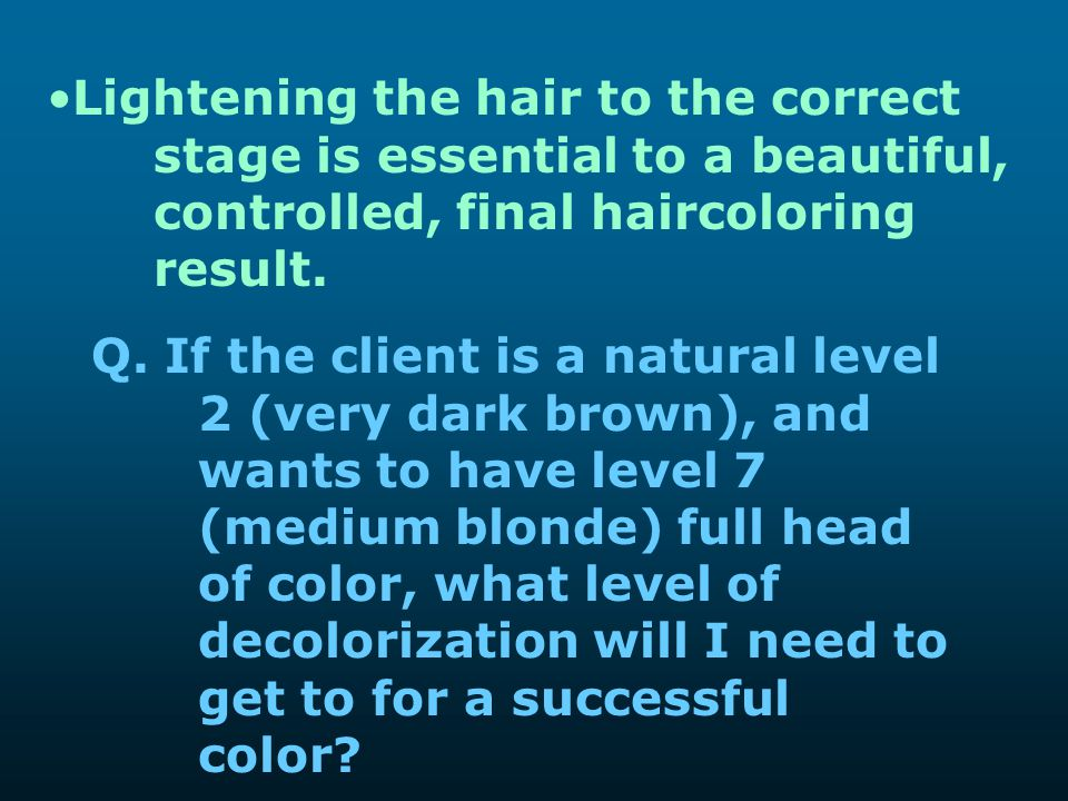 Lightening the hair to the correct. stage is essential to a beautiful,