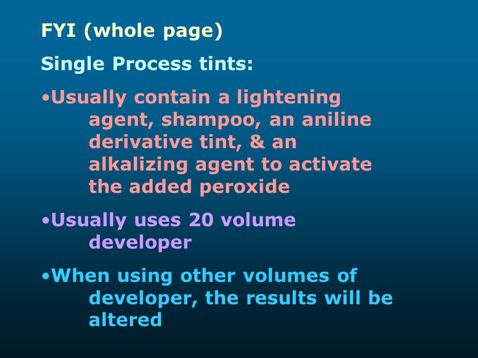 FYI (whole page) Single Process tints: