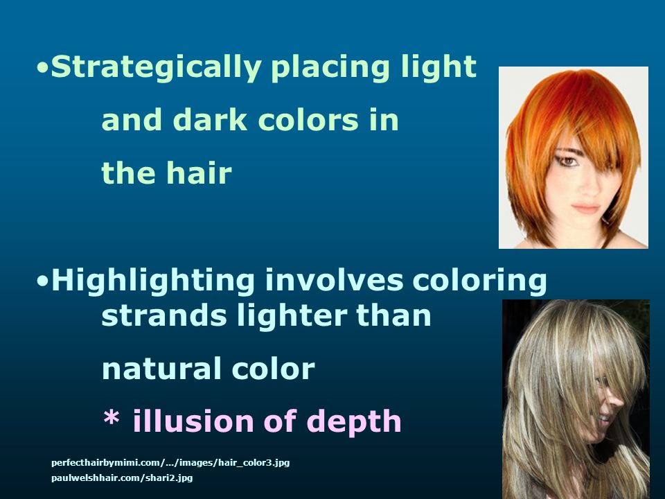 Strategically placing light and dark colors in the hair