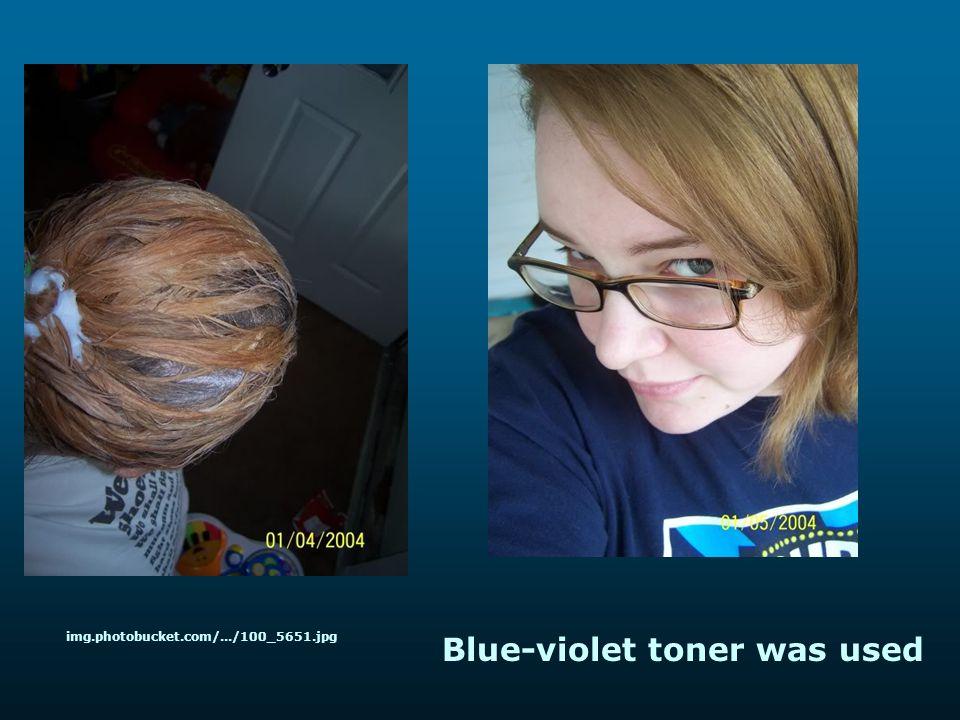 Blue-violet toner was used