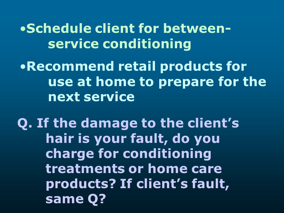 Schedule client for between- service conditioning