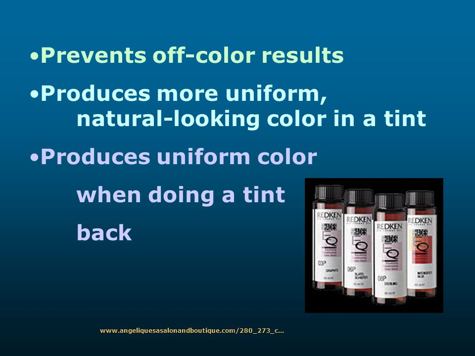 Prevents off-color results
