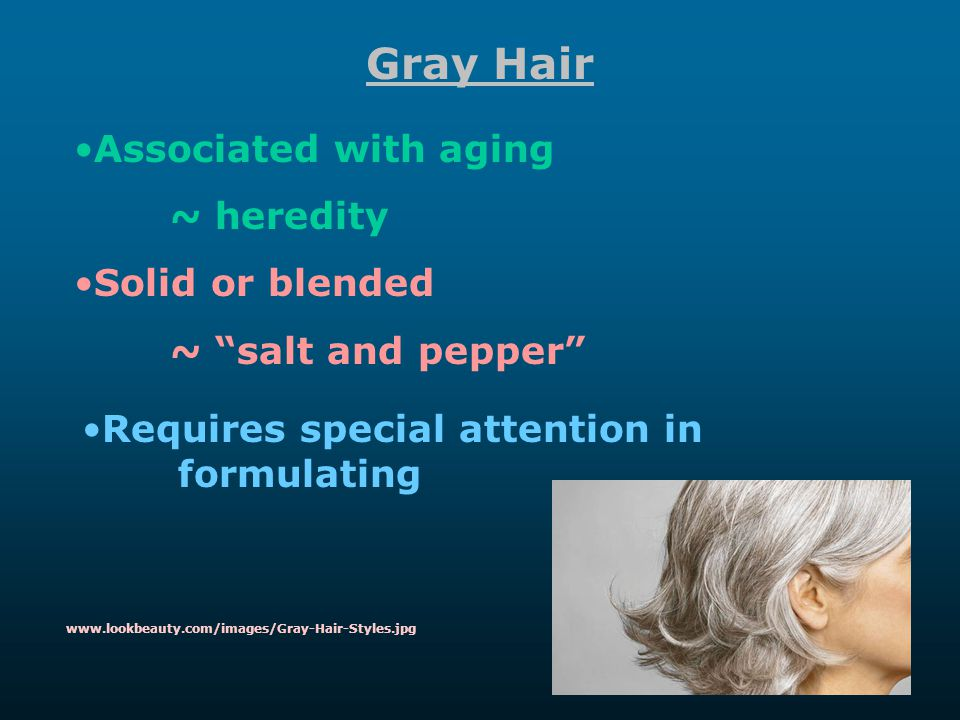 Gray Hair Associated with aging ~ heredity Solid or blended