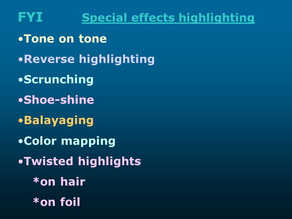 FYI Special effects highlighting