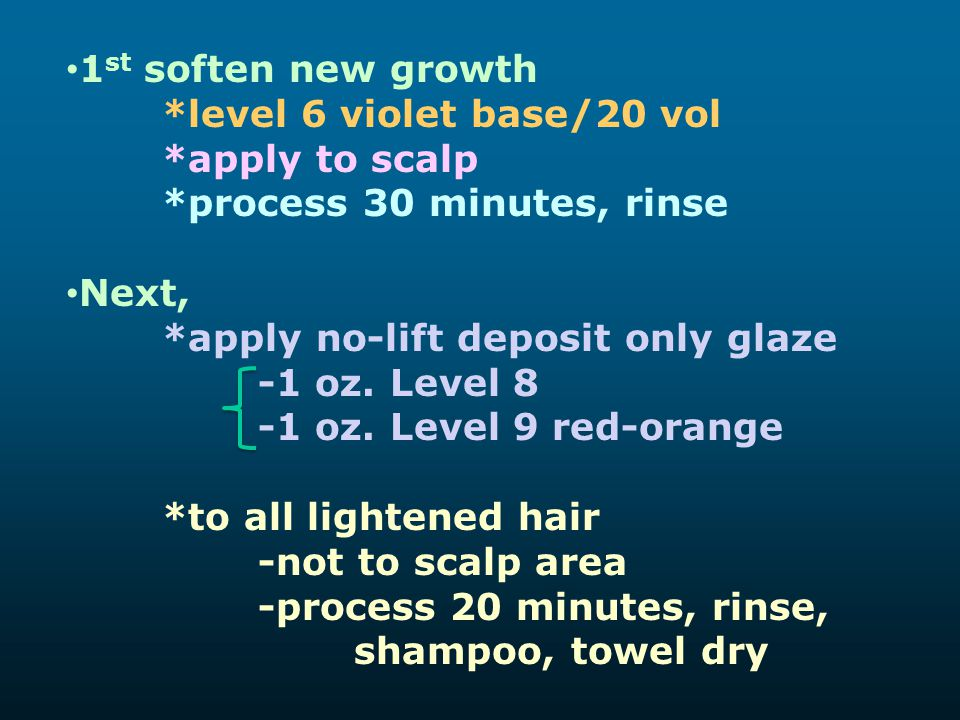 1st soften new growth *level 6 violet base/20 vol. *apply to scalp. *process 30 minutes, rinse. Next,