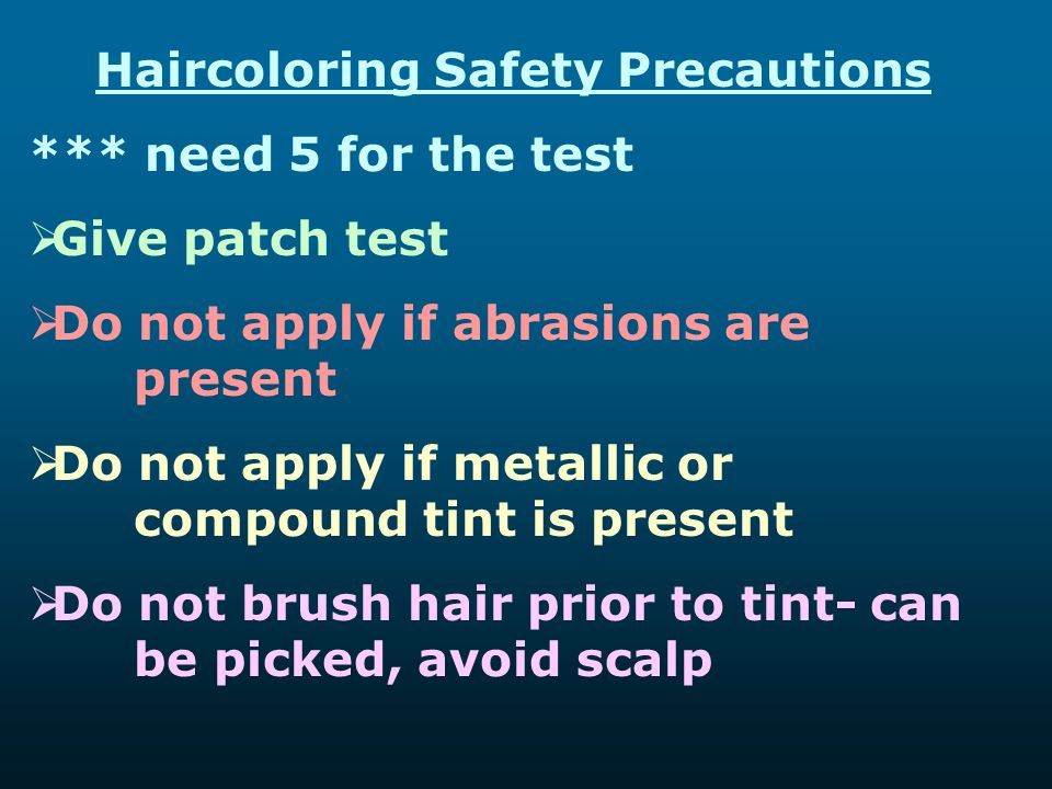 Haircoloring Safety Precautions