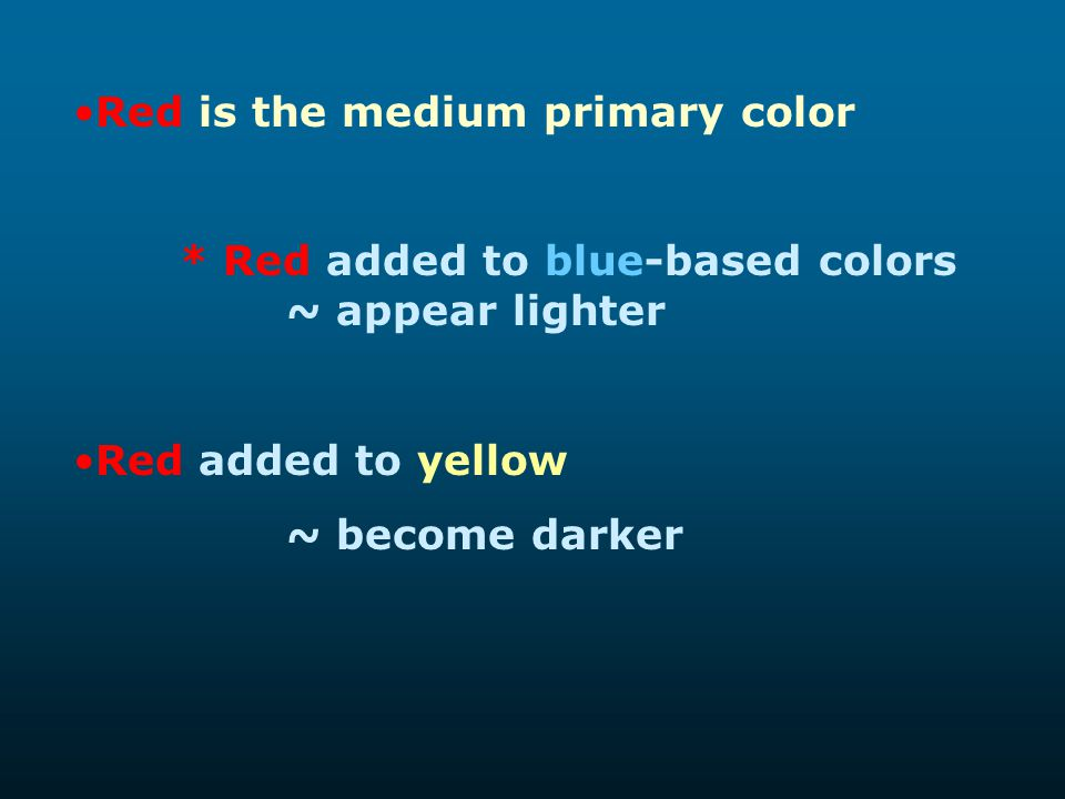 Red is the medium primary color