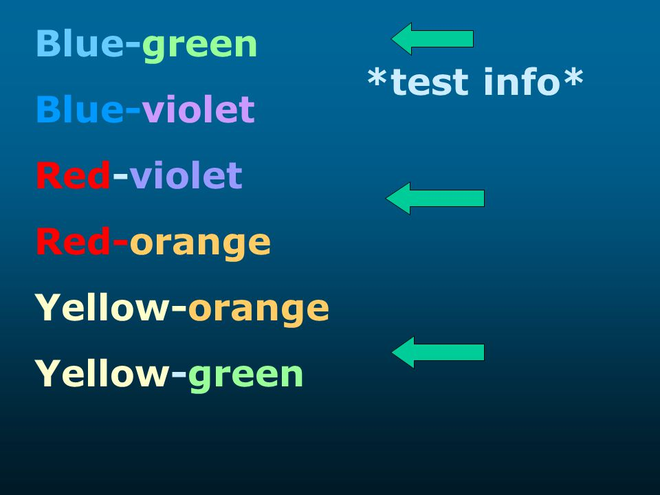 Blue-green Blue-violet Red-violet Red-orange Yellow-orange Yellow-green *test info*