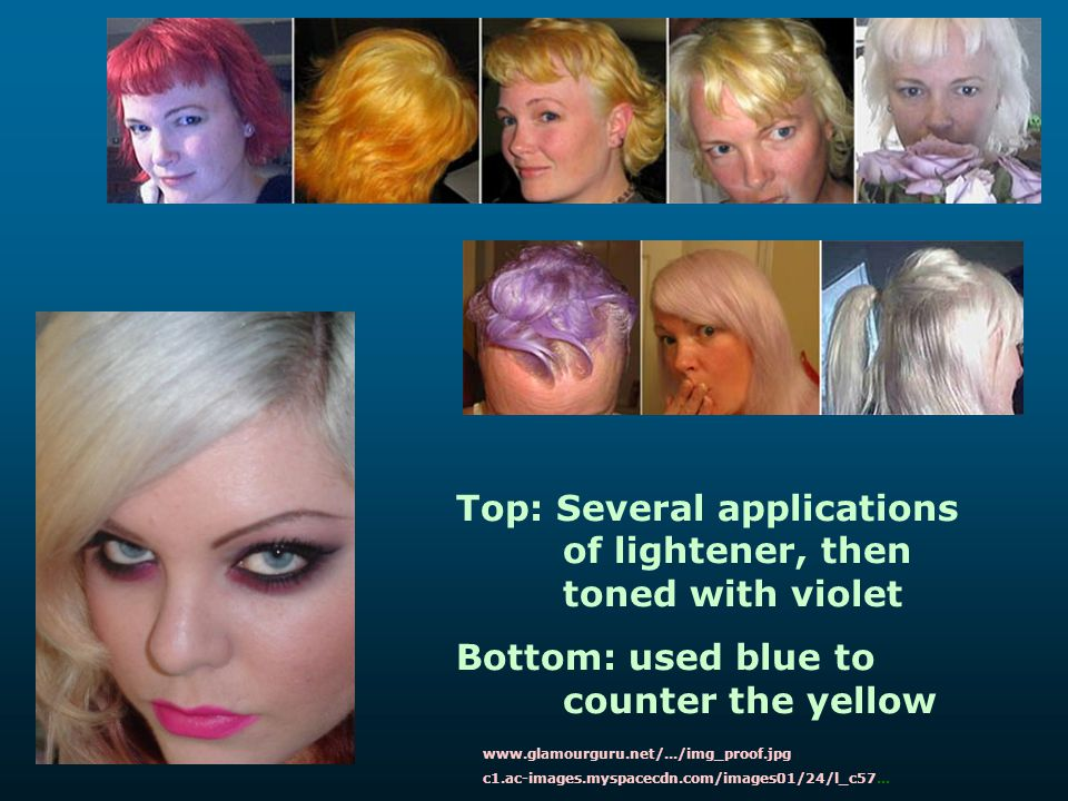 Top: Several applications of lightener, then toned with violet