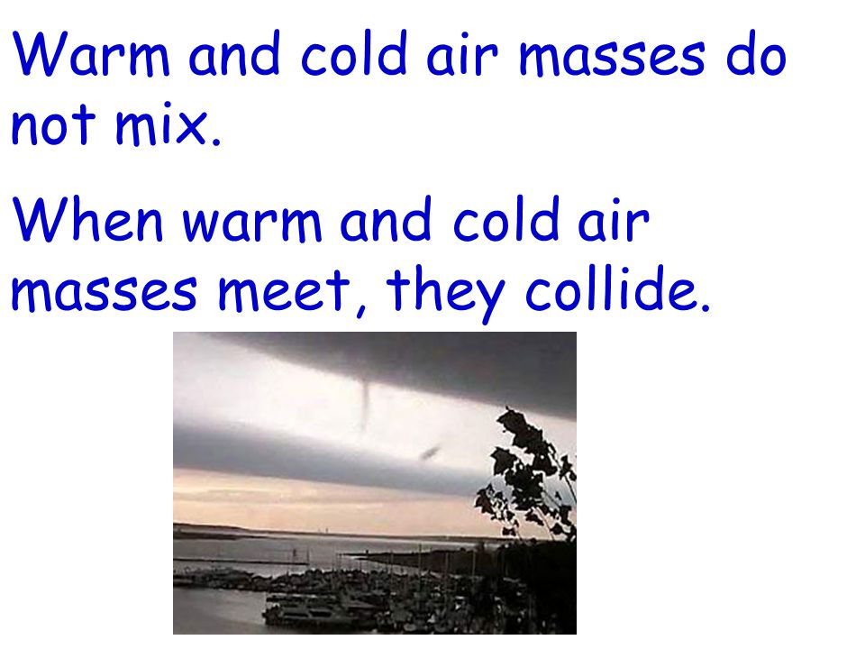 Warm and cold air masses do not mix.