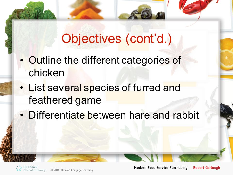 Objectives (cont'd.) Outline the different categories of chicken