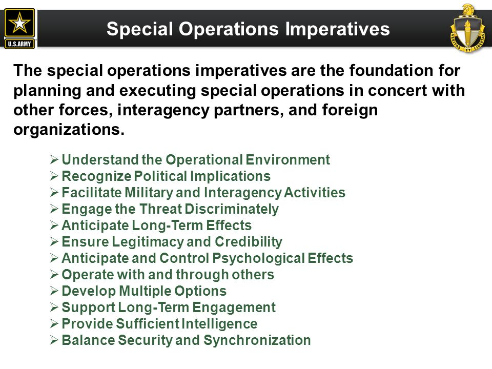Special Operations Imperatives