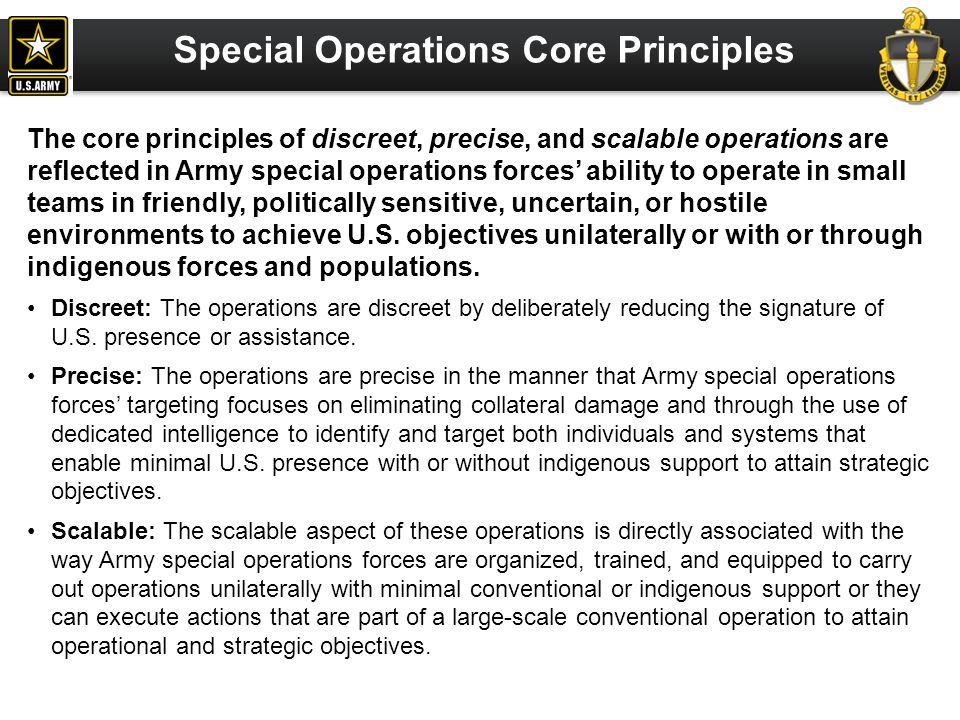 Special Operations Core Principles